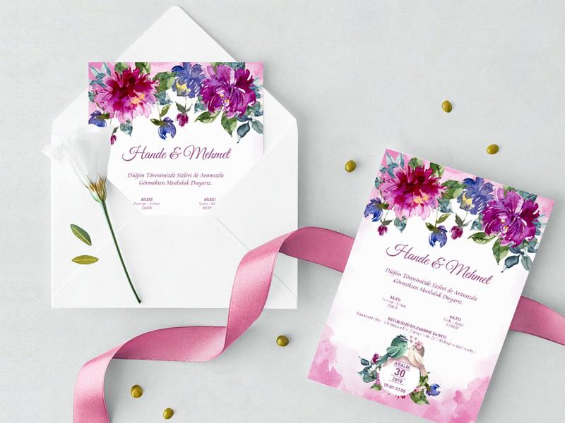 ROMA – Çiçekli Davetiye dugun davetiyeleri